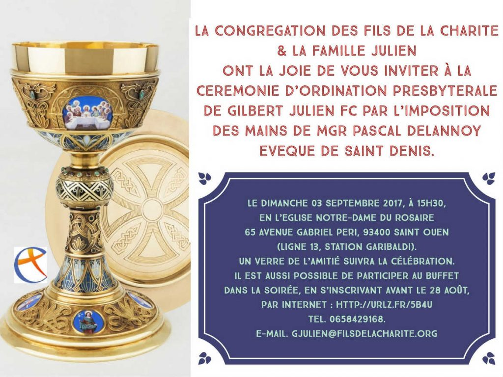 Faire-part d'ordination presbytérale de Gilbert Julien fc le 3 septembre 2017 à Saint-Ouen (93)