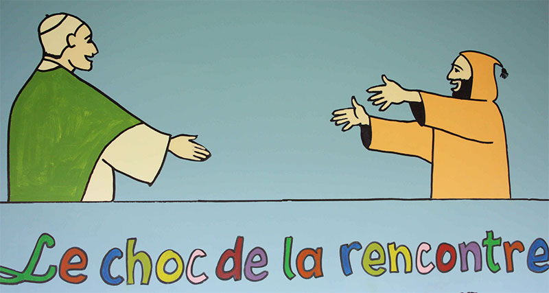 Fresque : le choc de la rencontre, chantiers, septembre 2014, à la Cité Saint-Pierre de Lourdes