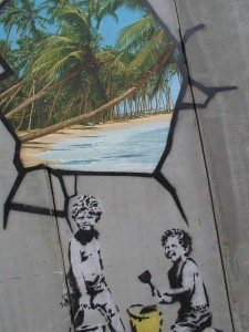 Trompe l'oeil sur le mur de Jérusalemlors d'un chantier au Proche Orient en juillet 2005 avec Félix Piron fc