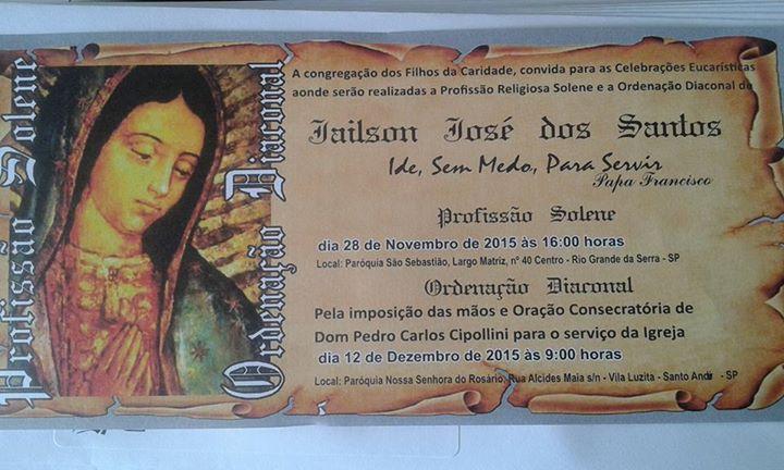 Faire-part des voeux perpétuels et d'ordinations de Jailson dos Santos
