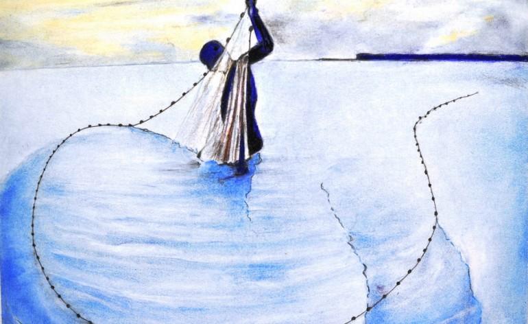 Aquarelle de la pêche dans le lagon