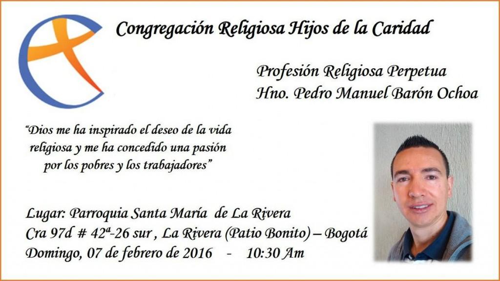 Faire-part de voeux perpétuels de Pedro Barón fc, 7 février 2016