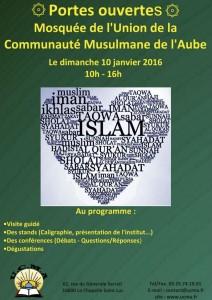 Affiche de l'opération portes-ouvertes à la Mosquée de l'Aude 10 ajnvier 2016