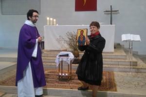 Icône itinérante du Carême à la fête du Sacré-Coeur 2016 à La Chapelle Saint-Luc