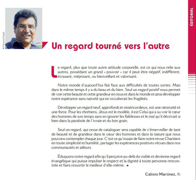 """Edito de la revue chantiers de juin 2017 sur """"Regards sur le monde"""""""