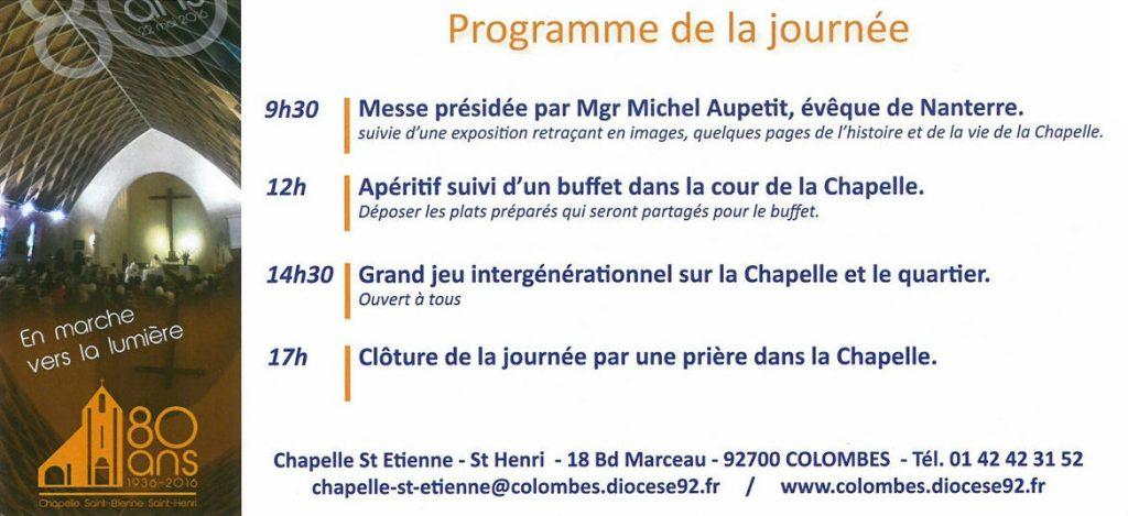 Chapelle Saint-Etienne et Saint-Henri de Colombes, 80 ans le 22 mai 2016