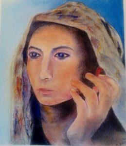 Femme à l'écoute, , pastel de Michel Bailly fc
