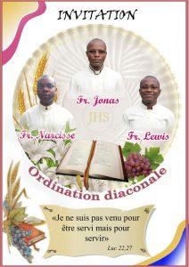 Ordinations diaconales de Lewis, Jonas et Narcisse le 9 juillet 2016 à Abidjan