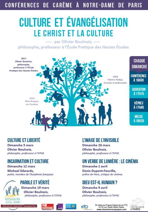 """Conférences de Carême 2017 à Notre-Dame de Paris """"Culture et évangélisation - le Christ et la culture"""""""