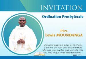 Faire-part d'ordination presbytérale de Lewis Moundanga fc au Congo Brazzaville le 24 juin 2017