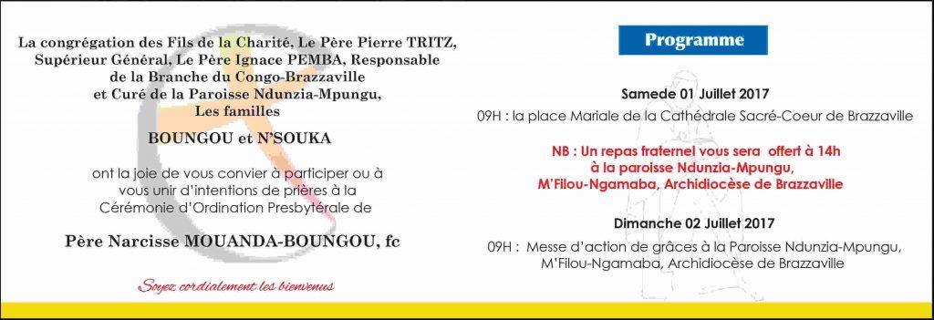 Faire-part d'ordination presbytérale de Narcisse Mouanda Boungou fc à Brazzaville le 1er juillet 2017