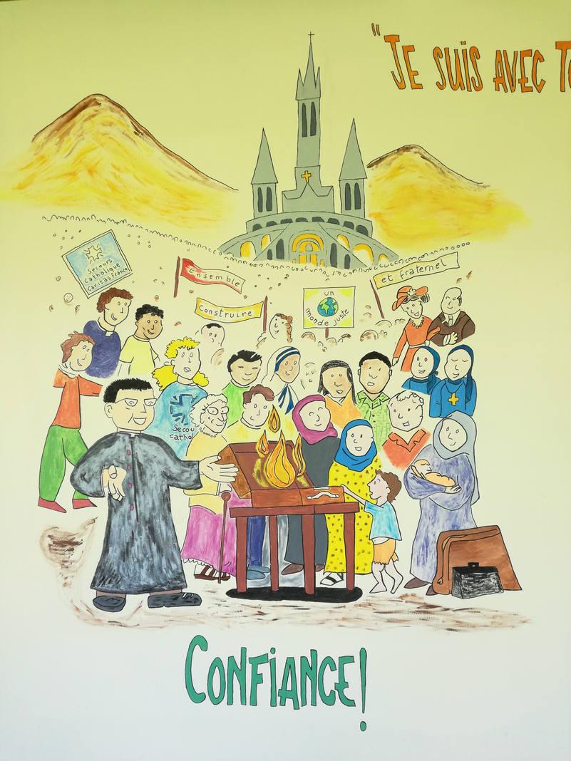 Fresque à la cité Saint-Pierre à Lourdes sur le thème de la saison 2017-2018