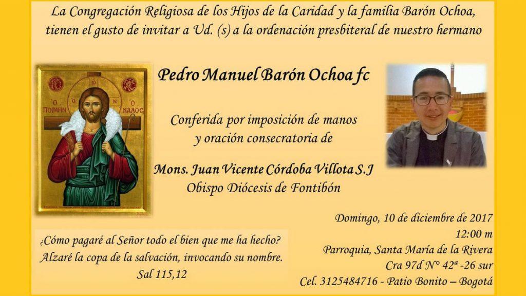Faire-part d'ordinaiton presbytérale de Pedro Barón fc, le 10 décembre 2017
