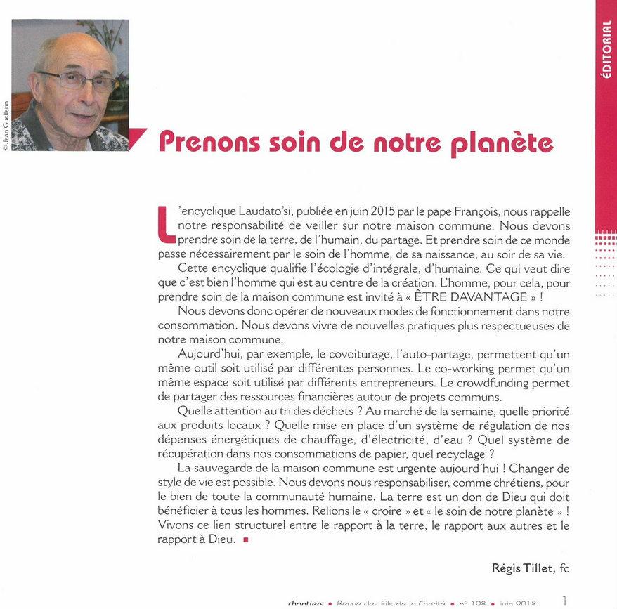 Edito de la revue chantiers de juin 2018 n°198 © Fils de la Charité