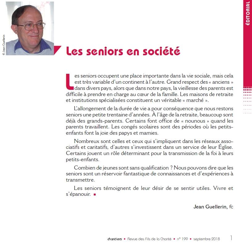 Edito de la revue chantiers de septembre 2018 n°199 © Fils de la Charité