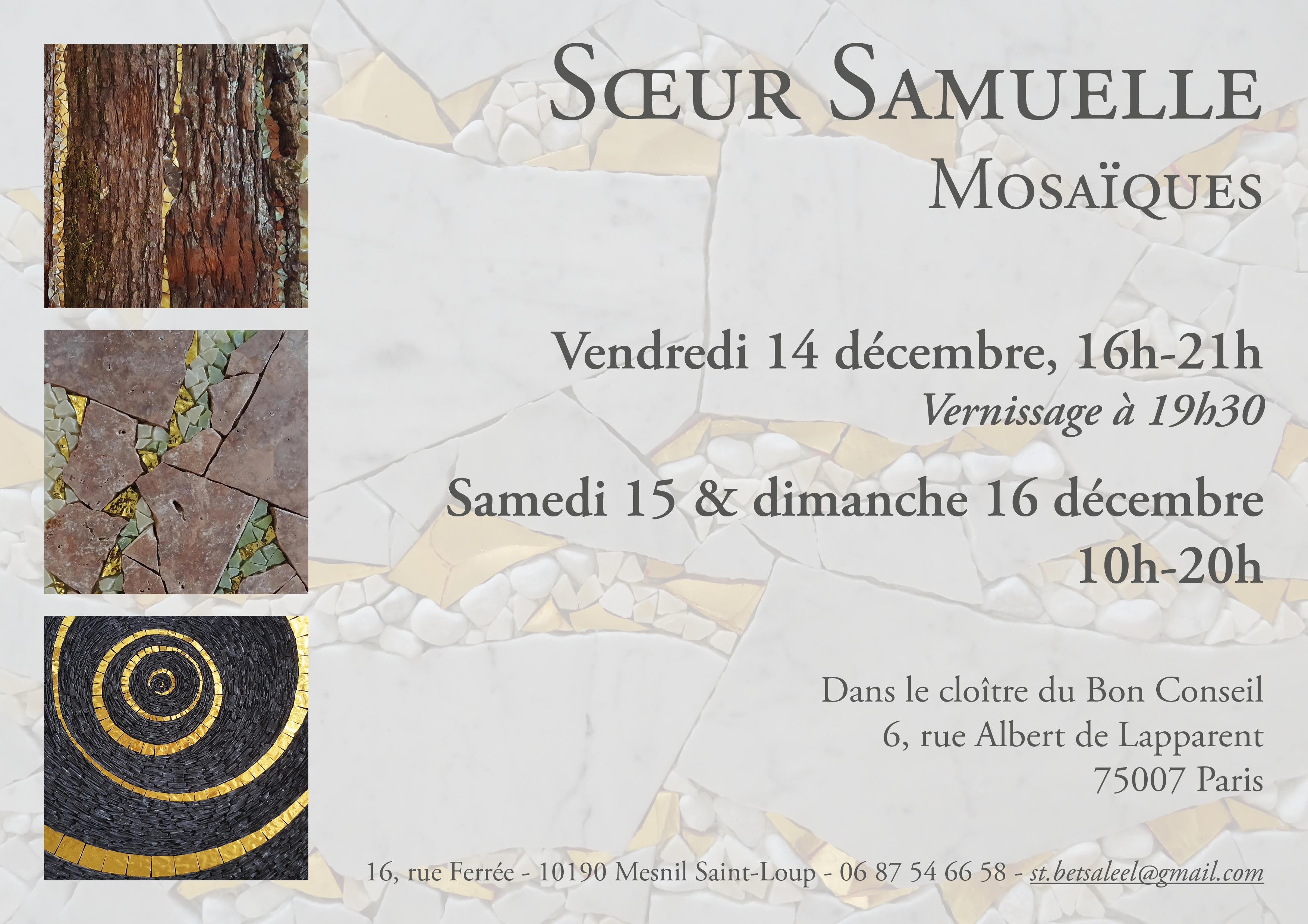 Vernissage et exposition de mosaïques par Soeur Samuelle, les 15 et 16 décembre 2018 à la paroisse du Bon Conseil Paris 7
