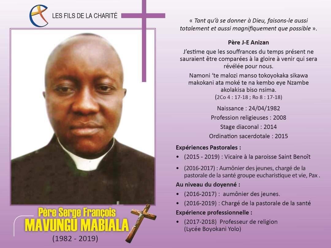 Parcours pastoral de Serge François Mavungu Mabiala fc décédé le 14 février 2019