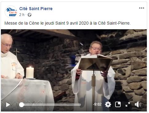 Jeudi Saint 2020 vidéo Facebook à Lourdes