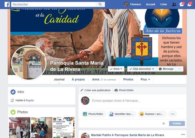 Page Facebook Parroquia Santa María de la Rivera en Colombie