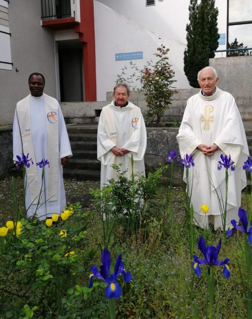 Pâques 2020 à La Cité Saint Pierre de Lourdes, Darius Simandondo, Jean Ménétrier, Roger Mimiague