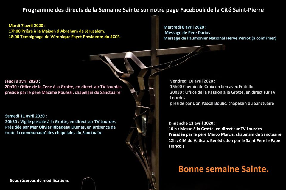 Programme de la semaine sainte 2020 à Lourdes
