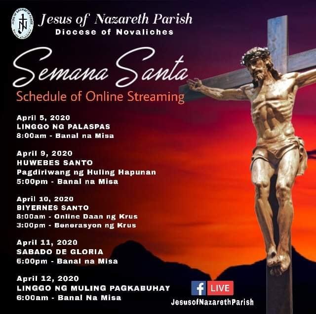 Programme de la semaine Sainte 2020 aux Philippines
