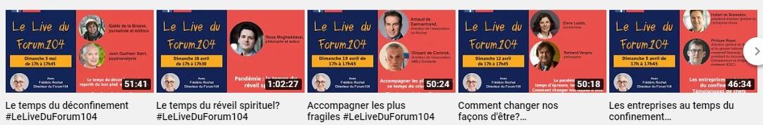 Les thèmes des lives du forum 104 pendant le confinement