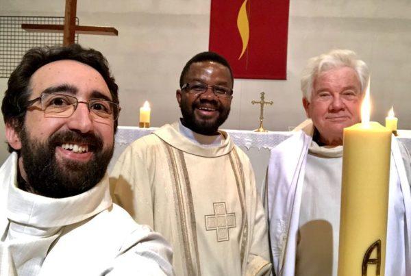 Temps pascal 2020 Xavier Séclier, Bernard Claireau et Gilbert Julien confinés à La chapelle Saint-Luc (Toyes)