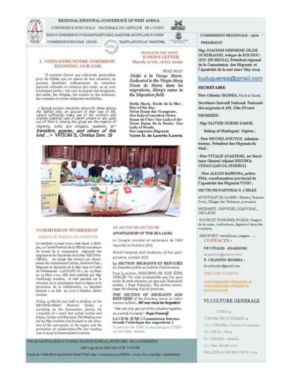 Côte d'Ivoire : L'Apostolat de la mer et des migrants & Covid-19 Newsletter avril et mai 2020