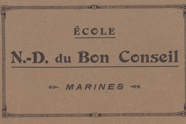 Couverture de l'album de cartes postales de l'école Notre-Dame du Bon-Conseil de Marines (archives des Fils de la Charité, n°2725/18)