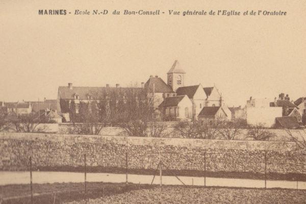 Carte postale de l'école Notre-Dame du Bon-Conseil de Marines (archives des Fils de la Charité, n°2725/18)